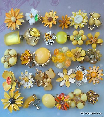 LOT of (30) VINTAGE clip on earrings in VARIETY of styles SINGLES colorful PV7-4