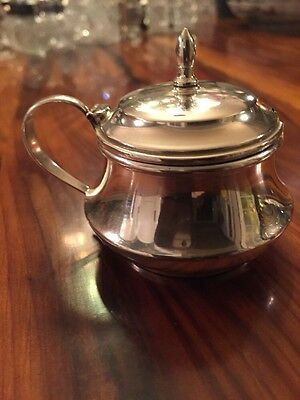 Webster Sterling Silver Mustard Pot with Blue Glass Liner, Hinged Lid