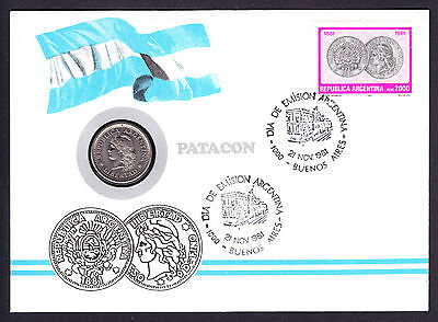 1981 Argentina stamp and coin Patacon cachet Argentinian Coins design stamp