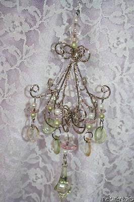 Christmas Ornaments Platinum Acrylic Crystal Chandelier Shabby Cottage Chic