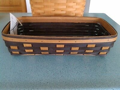 Longaberger Bread basket in Warm brown & Chocolate stains with protector NEW