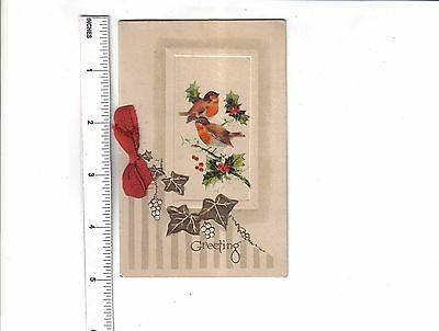Vintage Christmas Card.Robins and holly.c1930/40's