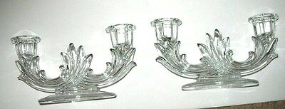 Pair Fostoria Corsage Etched Double Candlesticks - Beautiful!!