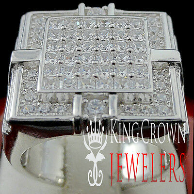 Big XL 10K White Gold On Real Sterling Silver Mens Lab Diamond Pinky Ring Band