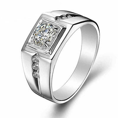 Mens 1ct CZ Ring Round Solitaire 925 Sterling Silver Size 9