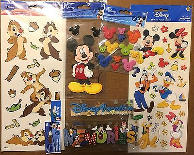 Lot 6 Disney Stickers Mickey Mouse Buttons, Memories, Cruise, Chip & Dale