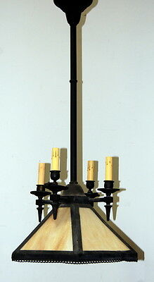 1920s Antique Arts & Crafts Pendant Light with Slag Glass, Vintage Lighting