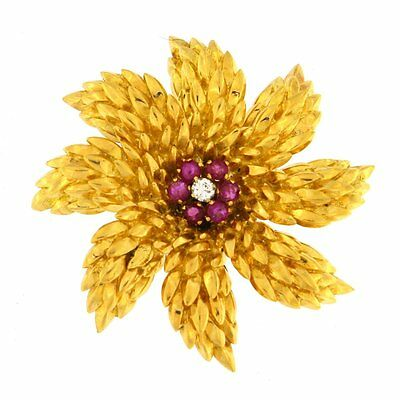 Tiffany Flower Brooch with Rubies & Diamond 18kt Yellow Gold