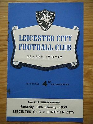 1958 / 1959 LEICESTER v LINCOLN F. A. CUP FOOTBALL PROGRAMME