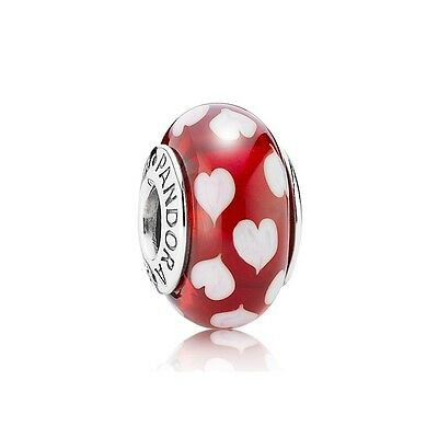 GENUINE Pandora Red & White Heart Murano Charm
