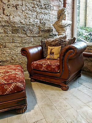 261 Chesterfield leather tetrad vintage armchair & footstool brown cigar club