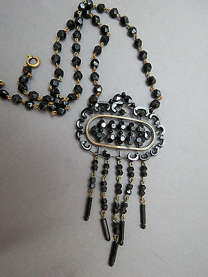 Victorian Era Pendant Necklace Jet Black Faceted Glass Wire Mourning Dangle Bead