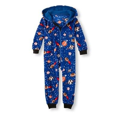 Tcp Boys 1Pc Sports Galaxy Fleece Onesie Hood Sleeper Footless Pjs L Xl 10/12 14