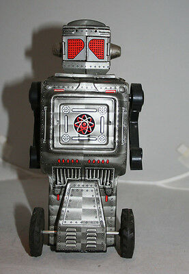 Horikawa Mars Space Explorer Robot Tin Toy Silver Version Batt. Operated Works!