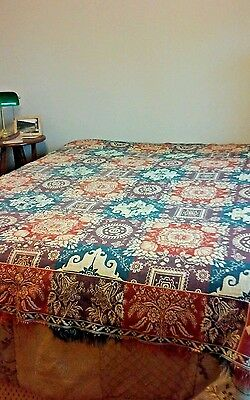 1800s Antique Jacquard Coverlet Woven Loom Trees Floral Houses Purple Blue Red