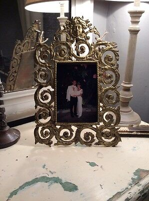 Stunning French 19Th Century Antique Gilt Metal Picture Frame Photo Frame Large
