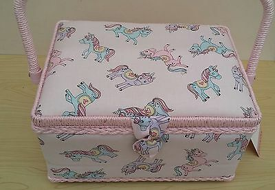 BNWT-Medium-Pretty Pink Unicorns Design Fabric Covered Sewing Box by Hobby Gift