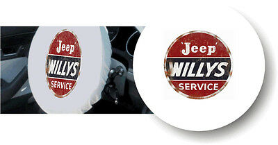 WHITE 100% Polyester CLASSIC JEEP WILLYS Stretchable Steering Wheel Cover