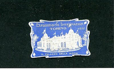 Vintage Poster Stamp Label EXPOSITION INTERNATIONAL TORINO 1911 Turin Italy