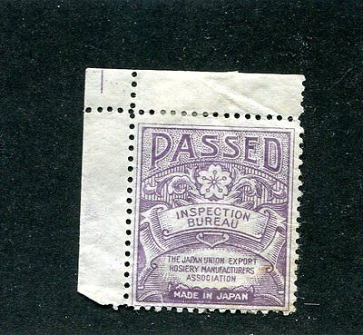 Vintage Poster Stamp Label PASSED INSPECTION BUREAU Japan Union Export  Hosiery