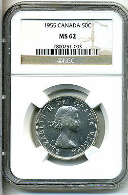Canada 50 Cents 1955,.800 Silver; NGC MS 62