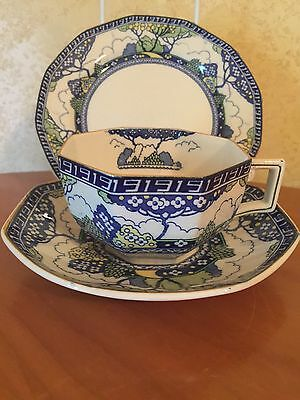 ANTIQUE CUP SAUCER PLATE TRIO ROYAL DOULTON ~*rare MERRYWEATHER Art Deco Style