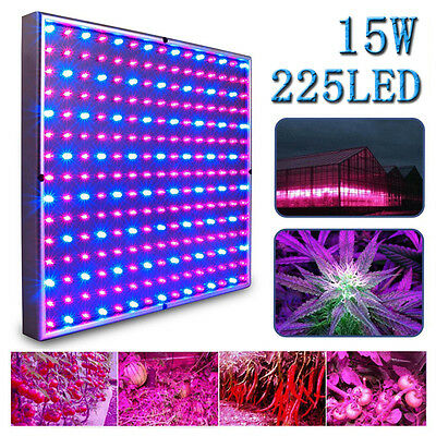 15W 225 LED Plant Flower Grow Light Panel Board Indoor Greenhouse House Lamp New