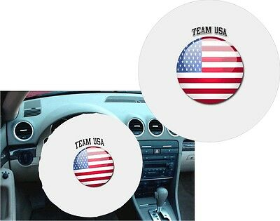 WHITE 100% Polyester TEAM USA - MADE IN USA Stretchable Steering Wheel Cover