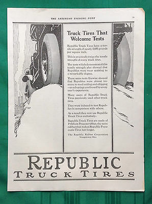1918 Vintage Truck Tire Magazine Ad ~ Republic Rubber Corp ~ Youngstown OH