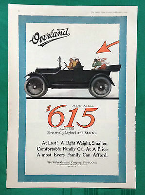 1915 Vintage Automobile Magazine Color Ad~ Willys Overland Model 75