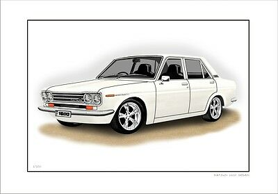Datsun  1600    510  Sedan        Limited Edition Car Print Automotive Artwork