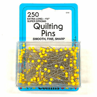 "250 Pk. Collins Quilting Pins 1-3/4"" Long, Yellow Ball Head, Fine, Sharp Pins"