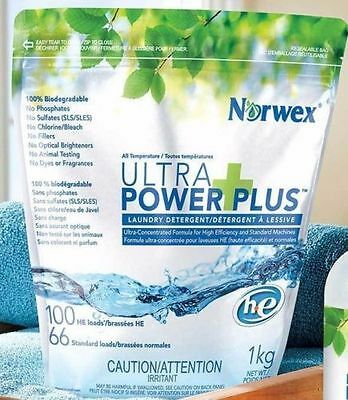 NORWEX Ultra Power Plus Laundry Detergent Large Bag New 1kg 2.2lbs Free Shipping