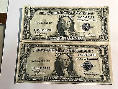 1935-C two $1 Silver Certificates - Blue Seal Consecutive Serial numbers (VF)
