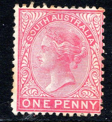 1890's South Australia colonial Stamp - One Penny Red, Mint Hinged, P13