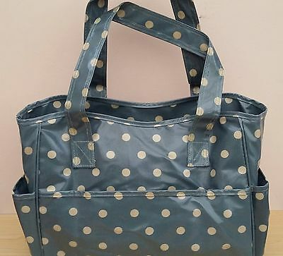 BNWT-Hobby Gift-Denim Blue/Bream Polka Dot Design-PVC-Project/Craft Bag