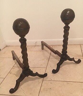 Pair Antique Early 20th C Spiral Twist Brass Cannon Ball Andirons Fire Dogs