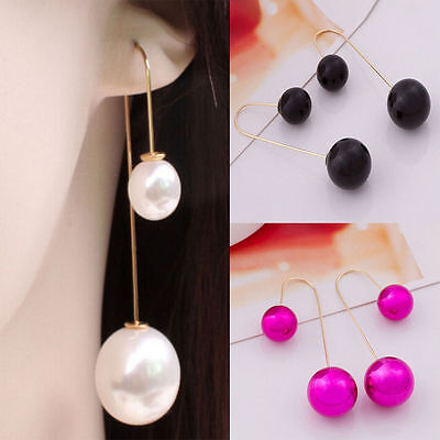 Fashion Pearl Drop Dangle Long Chain Threader Earrings Silver Plated Jewelry