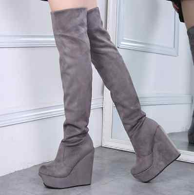 b954659014d Womens High Wedge Heels Platform Over Knee Thigh Boots Shoes Retro Pump New  H803