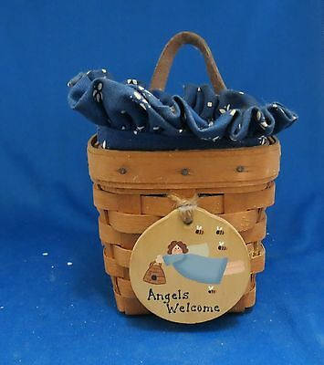 Longaberger Chives Booking Basket with Fabric & Plastic Liners 1999