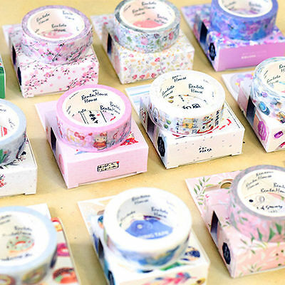 Cute DIY Floral Washi Sticker Decor Roll Paper Masking Adhesive Tape Crafts Gift