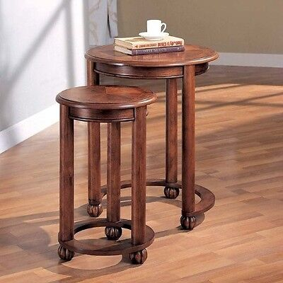 Nesting Table Set 2 Cherry Wood Finish Accent Round End Side Traditional Style