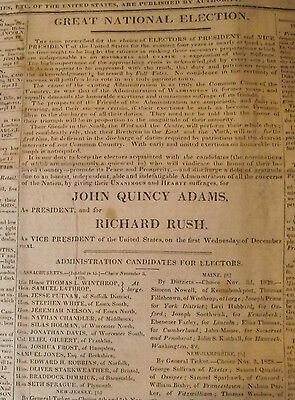 """1828 Newspaper ~ John Quincy Adams """"the Great Election"""" ~ Bunker Hill Monument"""