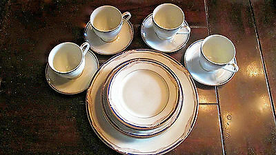 Five Piece Place Setting Gorham Golden Swirl Fine China Plates, Cup & Saucer