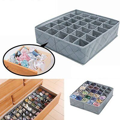 New Bamboo Charcoal Underwear Socks Drawer Organizer Storage Box 30 Cells LOT LO
