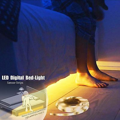 Night Motion Activated Strip Sensor Flexible LED Digital Bed Light automatic USA