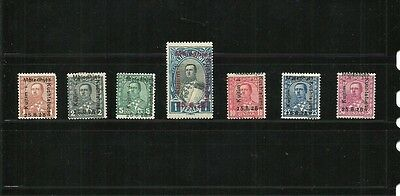 Albania 1928 King Zog, PARTIAL LOT one stamp missing, scoot#210-213 and 215-217