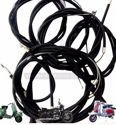 LAMBRETTA CABLE KIT SET S3 Li TV SX GP IN BLACK NYLON LINED @UK