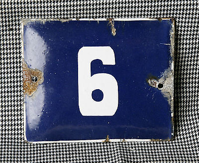 VINTAGE 60`s COBALT BLUE PORCELAIN ENAMEL SIGN PLATE STREET HOME DOOR NUMBER 6/9