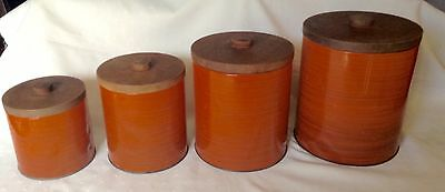Vintage - Rare - Retro - Willow - Wood Look - Canisters - Set Of 4